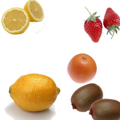 レモンとグレープフルーツとキウイとオレンジといちご
