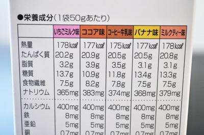 DHCプロティンダイエット(イチゴミルク・ココア・コーヒー牛乳・バナナ・ミルクティー味)栄養成分表