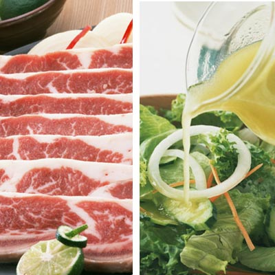 脂質が豊富な肉の脂身とドレッシング