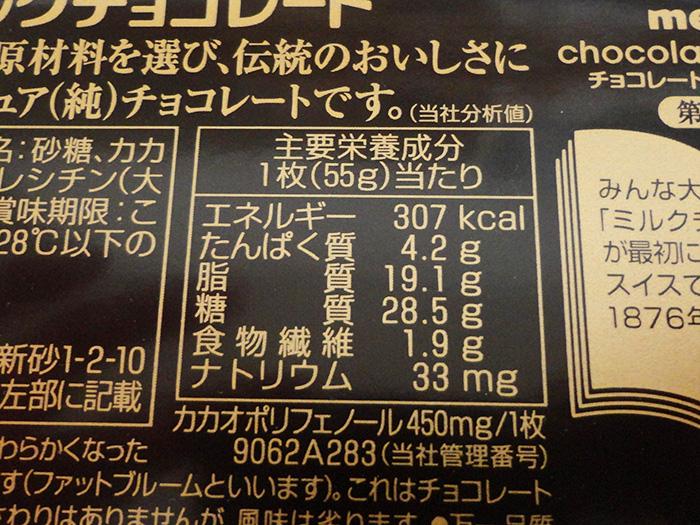 板チョコ1枚分の栄養表示