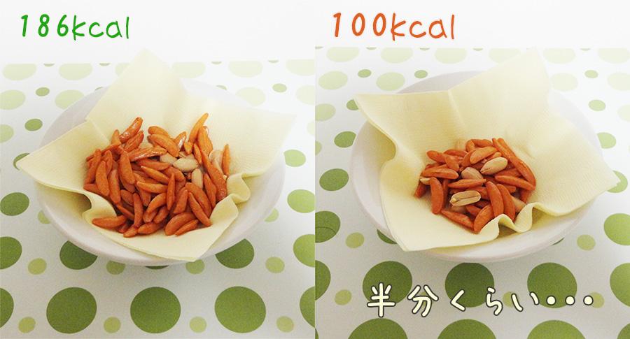 100キロカロリー分の柿の種