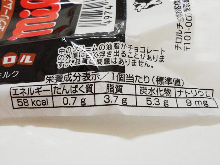 チロルチョコ(MILK)1個分の栄養表示