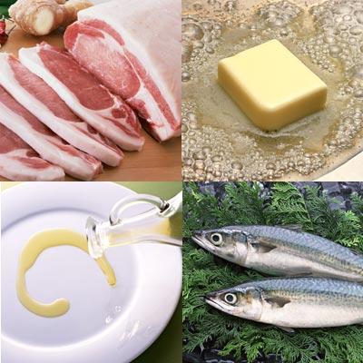 脂肪酸豊富な肉・バター・油・青魚のイメージ