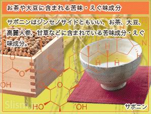 お茶や大豆に含まれる苦味・えぐ味成分