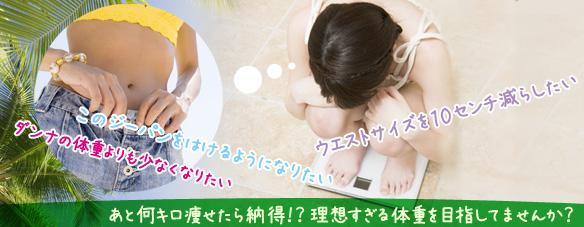 体重計にのり理想の体型を思い浮かべている女性