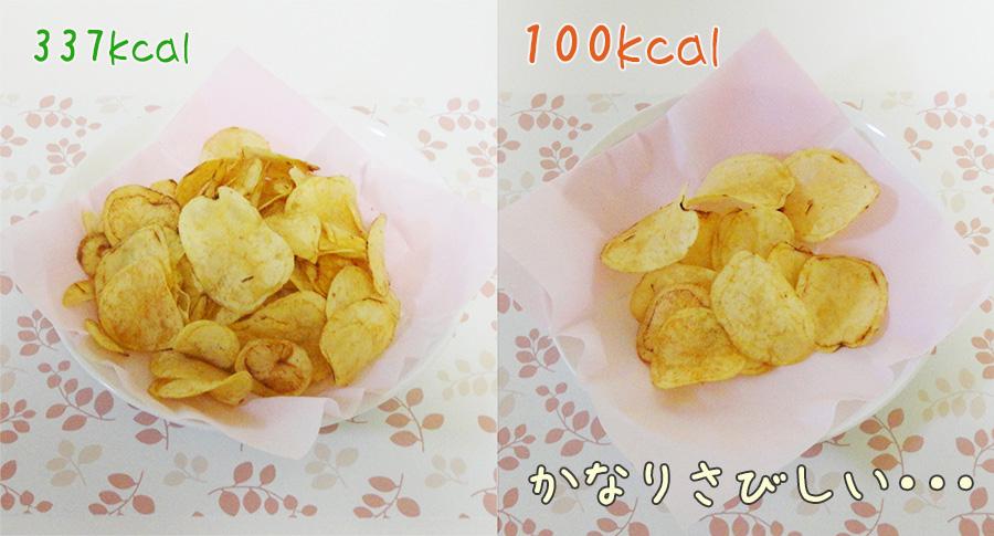 100キロカロリー分のポテトチップス