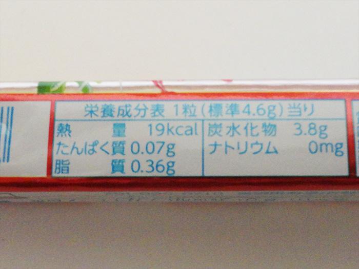 ハイチュウ1つ分の栄養表示