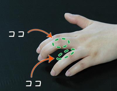 中指の外側と薬指の内側