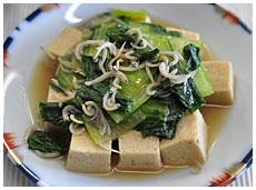 高野豆腐とちんげんさいとシラスのいため物